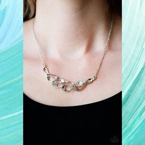 Easy Money Silver and White Loop Necklace Set
